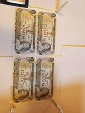 1973 Bank Of Canada 1 Dollar Bank Notes Uncut Lot Of 4. Ten Other Lots Up Now To