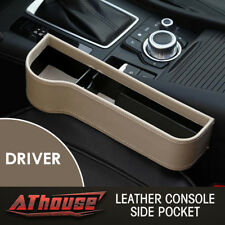Leather Console Side Pocket Organizer Car Seat Catcher Cup Holder Beige US STOCK
