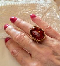 Large  NATURAL AMBER  Dress Ring  25 x 18mm. New.  14K/925 Sterling Silver.
