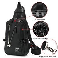 New Mens Sling Shoulder Bag Leather Chest Pack Crossbody Handbag Travel Backpack