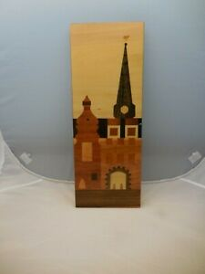 Vintage Russian Wood Inlay Marquerty Wall Art Church Building by Riga