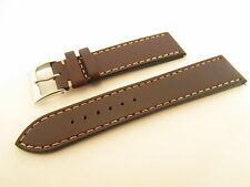 BROWN LEATHER 20MM WATCH BAND STRAP SILVER BUCKLE INC SPRING BARS,4.5MM THICK