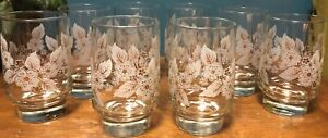 Beautiful Set Of 8 Gold & White Floral Libbey Juice Glasses