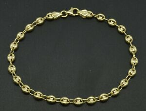 Real 10K Yellow Gold 4.5mm Puffed Mariner Gucci Link Chain Bracelet 7'' -8''