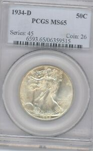 1934-D 50C Walking Liberty Half Dollar PCGS MS65