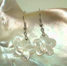 20mm White Mother of Pearl Hawaiian Plumeria Flower Dangling 316L Hook Earrings