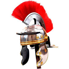 Medieval Roman Centurion Costume Armor Helmet with Wooden Display Post / Stand