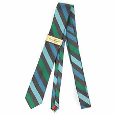 NWT Original Penguin Blue Greeen Striped Extra Skinny Mens Silk Neck Tie NEW