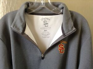 USC Trojans Gray 1/4 Zip Pullover Golf long sleeve Sweat shirt Men size Large L