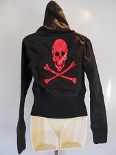 Nos Skull X Bones Black Bomber Hooded Jacket Top Vegan Pirate Skeleton Biker L
