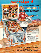 RANCHO Original FLYER Pinball Machine Promo WILLIAMS 1977 Brochure Ad Slick