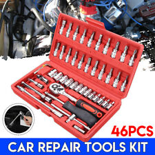 Car Repair Socket Tools Set 46pcs 1/4'' Spanner Ratchet Wrenches Kit Hand Tools