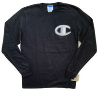 CHAMPION Life Mens Floss Stitch C Logo Heritage Tee Black Long Sleeve NWT LARGE