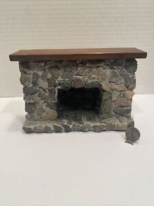 Vintage Artisan Rock Fireplace Colonial Dollhouse Miniature 1:12