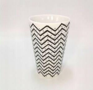 West Elm Chevron Ceramic Cup Tumbler Black & White Bathroom Toothbrush Holder