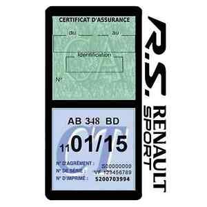 Porte vignette assurance R.S RENAULT SPORT double pochette Stickers auto rétro