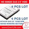 "4 x HGST HUC109090CSS600  900GB 10K RPM SAS 6Gbps - 2.5"" SFF HDD (512 FORMAT)"