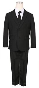 Boys Classic fit suit black formal wedding complete 5pc set long tie vest pant