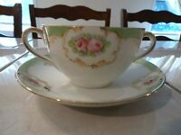 Hand Painted Nippon Bouillon Cup and Saucer
