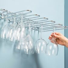 Wine Glass Holder Wall Mount Rack 20 Glasses Bar Kitchen Stainless Steel 5 Rows