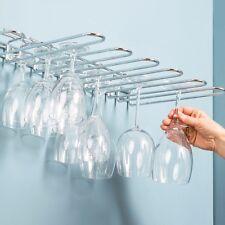 VETRO Di Vino Supporto Rack a muro 20 bicchieri bar cucina in acciaio inox 5 Righe