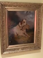 19TH CENTURY ...MANNER OF EDWARD ARMFIELD...Terrier with Rabbit in Gilt Frame