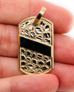 "Mens 10K Solid Yellow Gold Custom Dog Tag Nugget Pendant, 1.3"", 4.5 Grams"