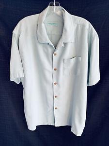 Tommy Bahama Mens Green Silk Collared Button Up Shirt XL FLORAL IMPRINT PKT