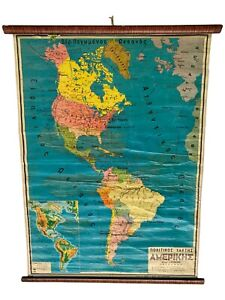 Vintage America Map, Classroom Map, School Chart, School Map, Wall Tapestry Map