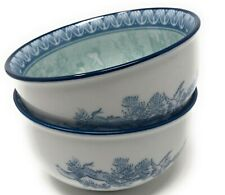 Blue Bowls with Scenery/Birds (2) Made in Korea