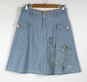 BILLABONG Skirt A Line Palm Tree Embroidery Pale Blue - US Sz 2 Au 8 / 10 Retro
