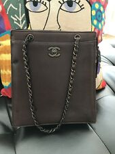 Chanel Vintage Brown Small tote Bag with Chain Handle