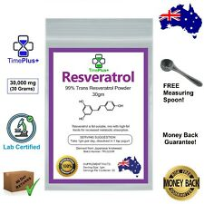 Trans Resveratrol 30g Powder 99% Certified Purity Anti Aging NAD+ NMN Booster