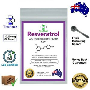 Trans-Resveratrol Powder 99% Certified Purity Anti Aging NAD+ NMN Booster
