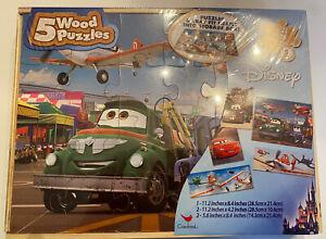 Disney Cars Planes Wood Puzzle Set of 5 Jigsaw Child Toy. New Sealed