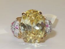 Ladies gold citrine ring oval cz 8 carat ruby sterling silver base 18kt new 1143