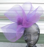 purple crin fascinator headband headpiece wedding party piece race ascot bridal
