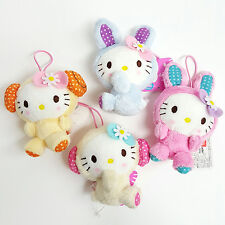 Sanrio Hello Kitty Sheep and Rabbit Costume Plushies Hanging Dolls 4pc SET (5c88