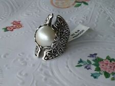Silver 17.7 grs. Size 6 Detailed Bali Handcrafted 15mm Mabe Pearl Ring Sterling