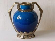 Paul Milet Sèvres, Vase Art Déco Porcelaine Bleue Et Bronze Argenté