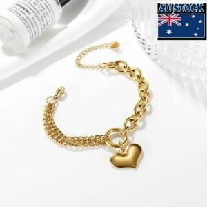 3 Color Woman Stainless Steel 18K Gold Plated Glossy Heart Charm Bracelet Bangle