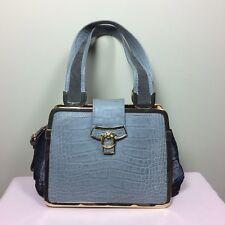 MAX MARA Damen Tasche Grau Leder Vintage Couture Catwalk Look Bag Boho Style Sac