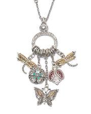 "Garden Theme Dragonfly Lady Bug Butterfly Charm Necklace 22"" Silvertone"