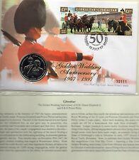 1997 Gibralter 1 crown COIN FDC GOLDEN WEDDING ANNIVERSARY 10111