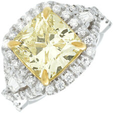 3.45 CT GIA Fancy Yellow Cushion Cut Diamond Engagement Ring in 18k White Gold
