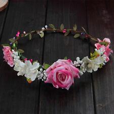 Women Flower Hair Garland Headband Crown Floral Rose Boho Wedding Floral Crown