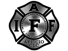 4x4 inch Stainless Look (non-reflective) Maltese Shaped IAFF Sticker  - fire afl