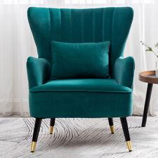 Scalloped Back Armchair Velvet Tub Sofa Upholstered Reading Chair Extra Seats UK