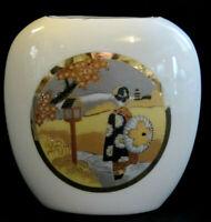 "Vintage MASA JAPAN Japanese Pictorial 4x4"" White Porcelain Vase Heavy Gold Gilt"