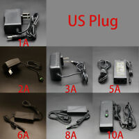 110V-AC-DC 12V Adapter 1A/2A/3A/5A/6A/8A/10A Power Supply US Plug Female Head